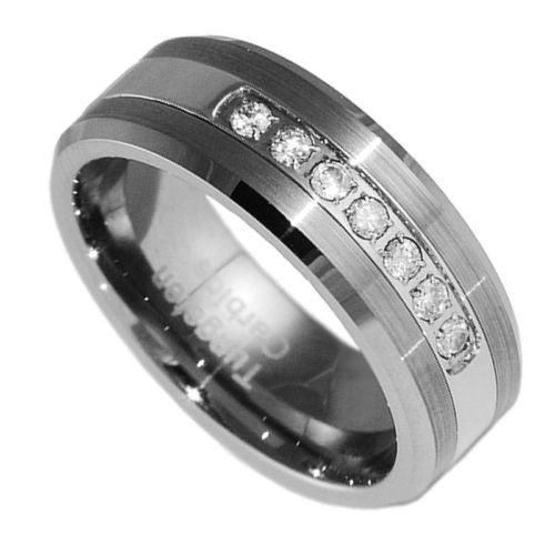 7mm Tungsten Carbide Mens Brushed Stepped Edges Black Wedding Band Ring 5-15