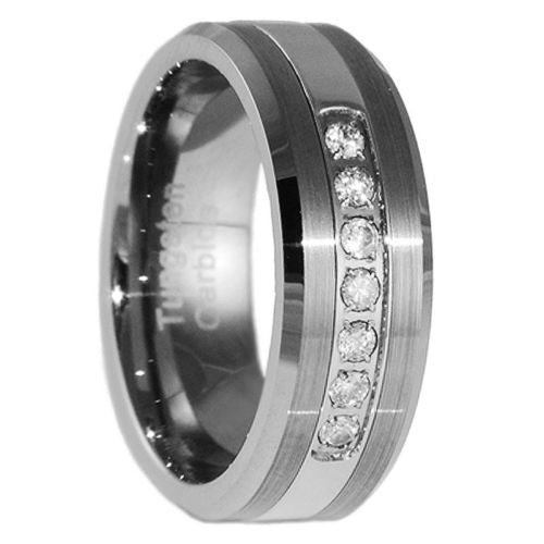 8MM Tungsten Carbide Wedding Band CZ Bridal Men Jewelry Ring Size 5-15