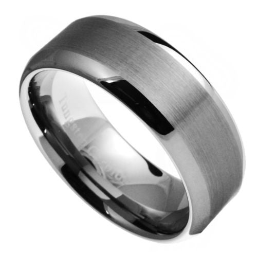 8mm Tungsten Carbide Men Women Brushed Polished Wedding Band Ring Size 7-15