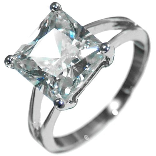 4.88CTW PRINCESS STONE SOLITAIRE ENGAGEMENT RING size 5-9
