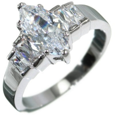 2.24CTW MARQUISE BAGUETTE STONE ENGAGEMENT RING size 5-10
