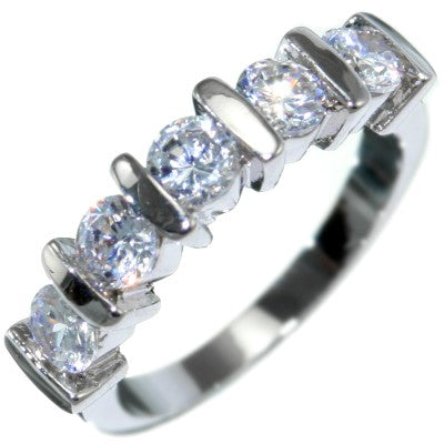 Created Diamond 5-stone Anniversary Ring Band Size 9 #3036