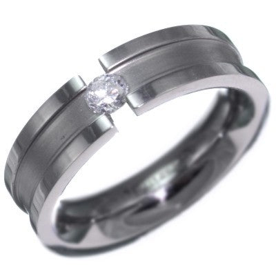 Stainless Steel Created Diamond Wedding Ring Band Size 6-8 #3042