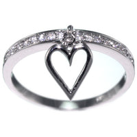 Created Diamond Marquise Dangling Heart Ring Band Size 6-7 #3052