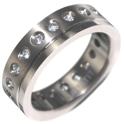 1.00CTW TITANIUM ETERNITY BAND RING size 8-12