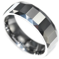 TUNGSTEN CARBIDE FACETED* MENS RING size 8-12