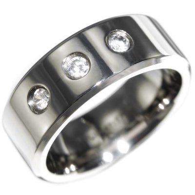 0.30CTW TITANIUM THREE STONES RING size 8-12
