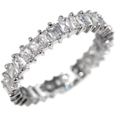 3.36CTW EMERALD CUT STONE - ETERNITY BAND RING size 6-10