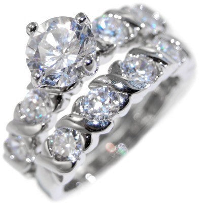 "2.60CTW ENGAGEMENT DESIGNER ""WEDDING RING SET"" size 5-10"