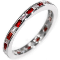 0.77CTW BAGUETTES W/ GEMSTONES - ETERNITY RING size 5-9