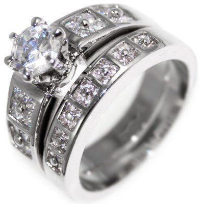 2.21CTW BRILLIANT STONE channel WEDDING RING SET size 6-10