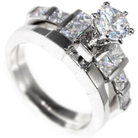 2.45CTW BRILLIANT PRINCESS CUT- WEDDING RING SET size 6-10