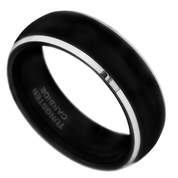 8mm Black Tungsten Carbide Polished Dome band Wedding Men Bridal Ring Size 7-15