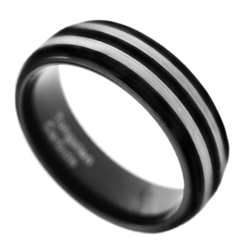 8MM Black Tungsten Carbide Twin Strips Men Women Wedding Band Ring Size 8-15