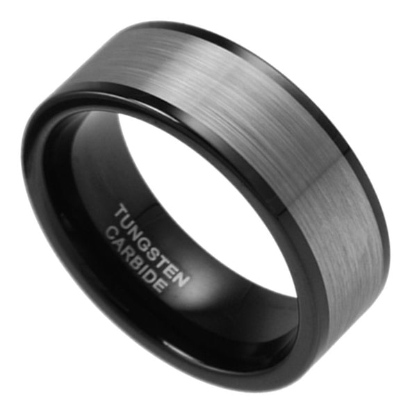 9MM Wide Silver & Black Brushed Tungsten Carbide Wedding Band Men Ring Size 7-15