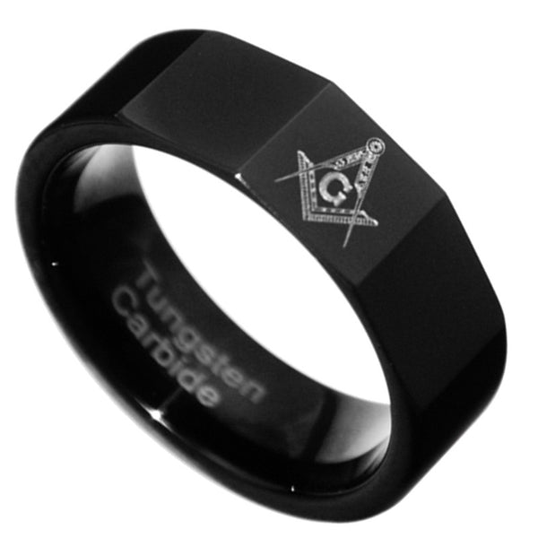 8MM Black Freemason Masonic Tungsten Carbide Band Men Ring Size 7-15