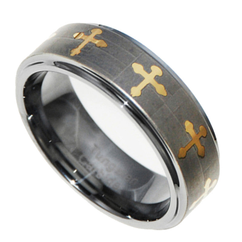 8MM Gold Cross Tungsten Carbide Wedding Mens Ring Band 7-15 Full & Half sizes