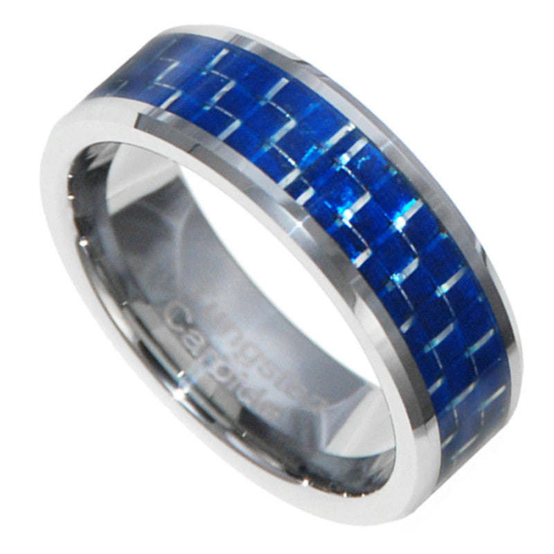 8mm Blue Carbon Fiber Inlay Tungsten Carbide Ring Wedding Band Size 7-15