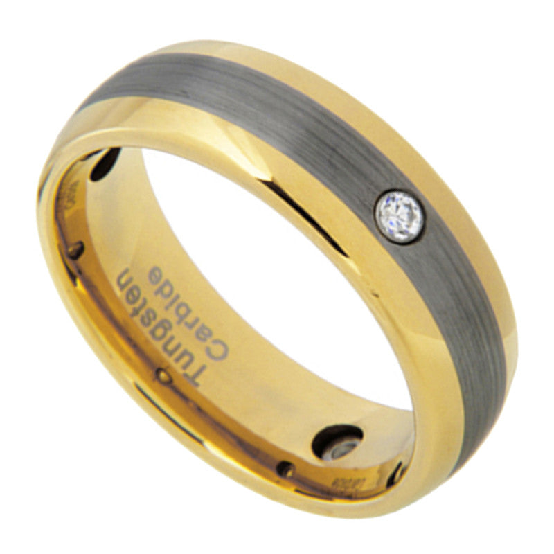 8mm 3-stone Gold Tungsten Carbide Band Men Women Wedding Ring Size 8-13