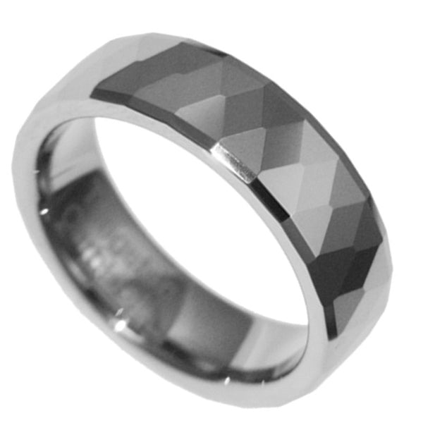 8mm Tungsten Carbide Facet Band Polished Men Women Wedding Ring Size 4-12