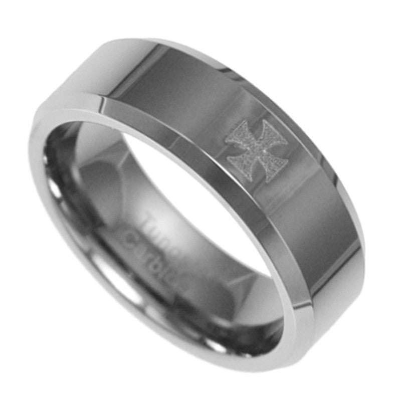 8MM Tungsten Carbide Knight Cross Wedding Mens Ring Band 8-13