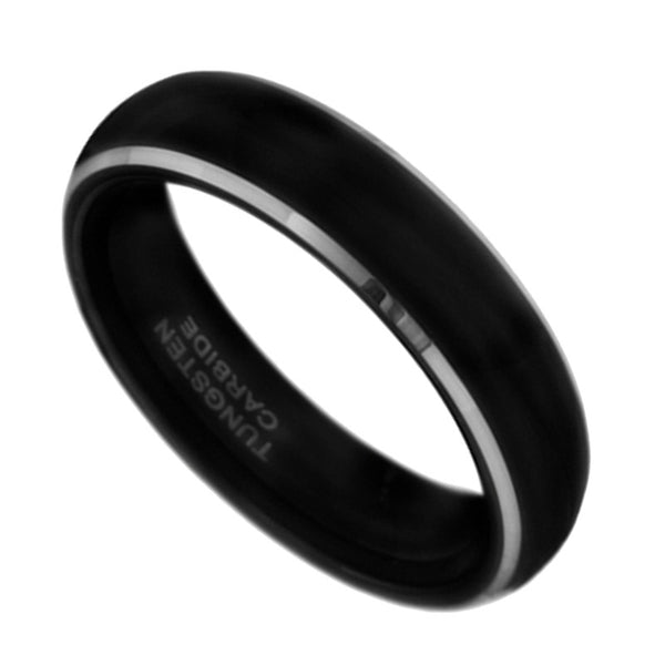 6mm Tungsten Carbide Mens Black Wedding Band Ring 5-13