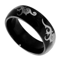8MM Black Tungsten Carbide Tribal Wedding Mens Ring Band 8-13