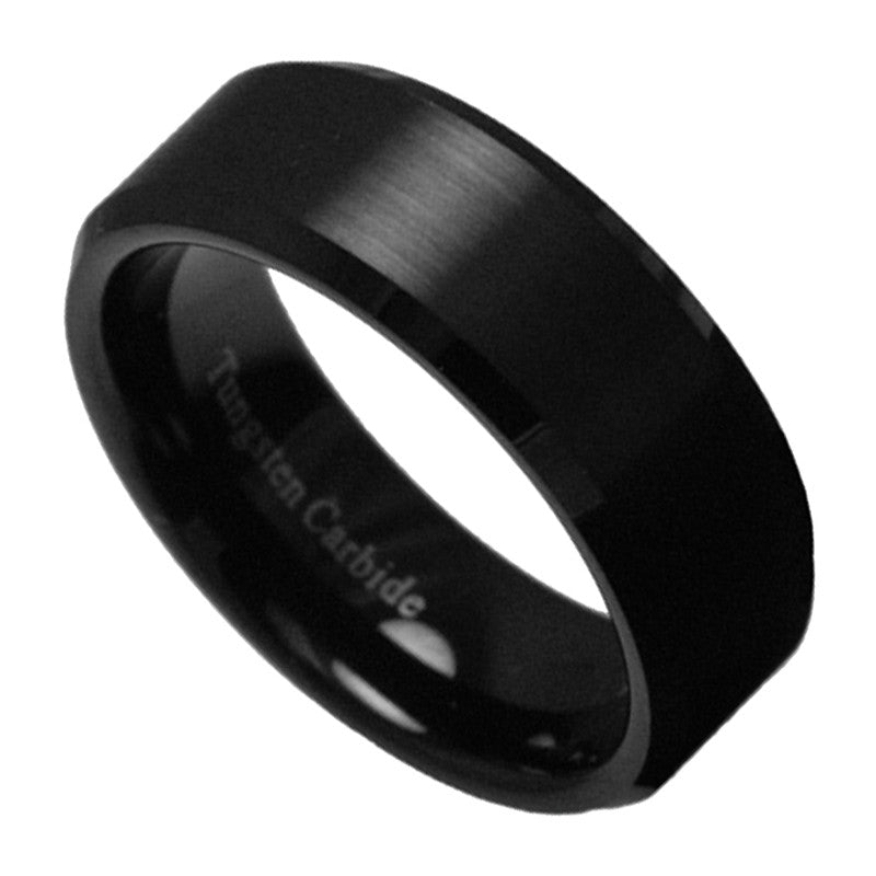 8mm Black Tungsten Carbide Men's Jewelry Brushed Wedding Band Ring Size 7-15