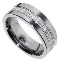 8mm Tungsten Carbide PRINCESS Stone CZ Men Women Wedding Band Ring Size 7-15