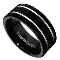 8mm Black Tungsten Carbide Polished Men Wedding Band Ring Size 7-15