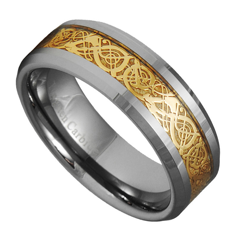 8mm Dragon Tungsten Carbide Celtic Ring Jewelry Wedding Band Gold Size 7 -15