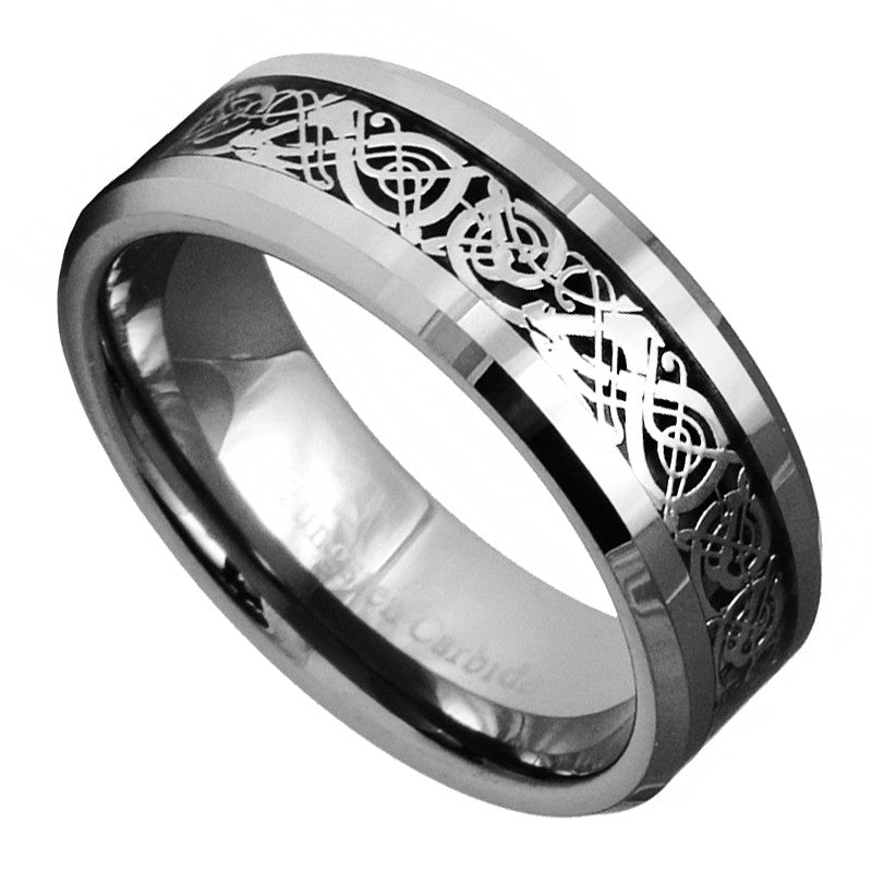 Dragon Tungsten Carbide Celtic Ring Mens Jewelry Wedding Band Silver New 7 -15