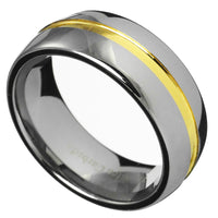 8mm Gold Grooved Tungsten Carbide Ring Men/Women Wedding Ring Band Size 7-15