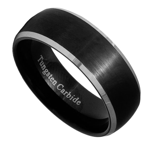 8mm Black Brushed Tungsten Carbide Men/Women Ring Wedding Band Size 7-15