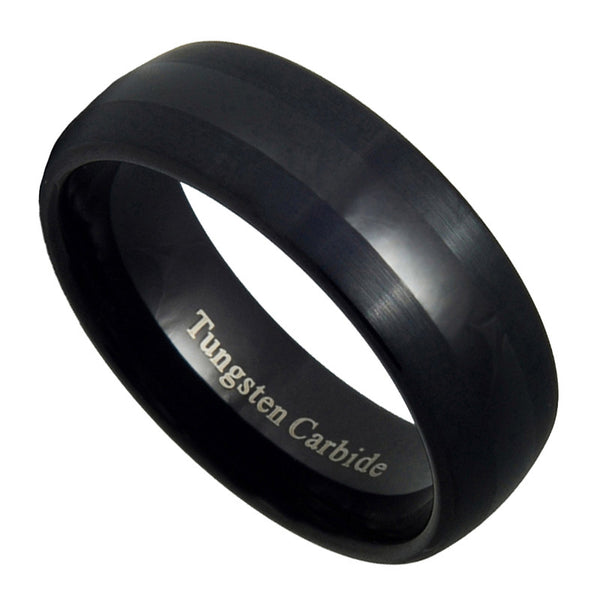 8mm Tungsten Carbide Mens Brushed & Polished Black Wedding Band Ring 7-15