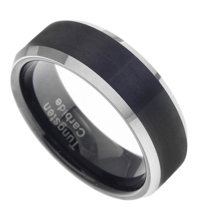 8mm Tungsten Carbide Mens Satin & Polished Black Wedding Band Ring Size 7-15
