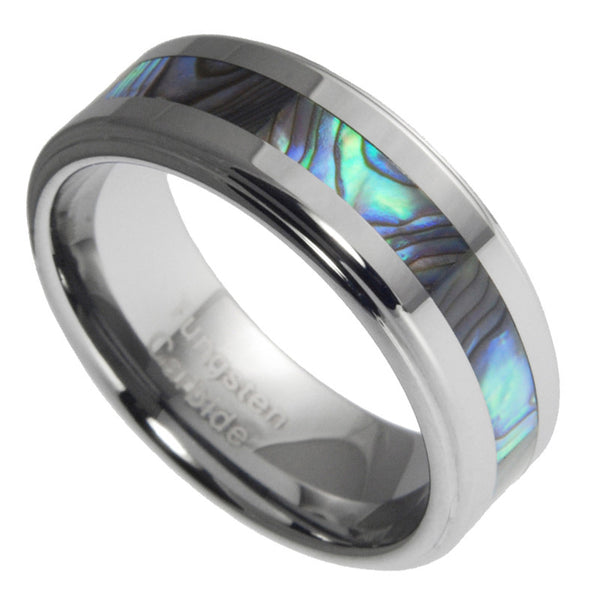 8mm Tungsten Ring With Abalone Shell Inlay Mens Wedding Ring Band Size 7-15