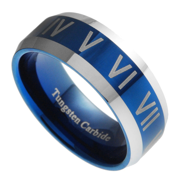 8mm Tungsten Carbide Mens Blue Roman Numeral Mens Wedding Band Ring Size 9-13