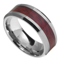 8mm Tungsten Carbide Mens Wood Inlay Beveled Edges Wedding Band Ring Size 6-13