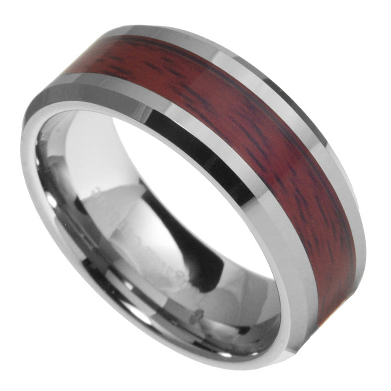 8mm Tungsten Carbide Mens Wood Inlay Beveled Edges Wedding Band
