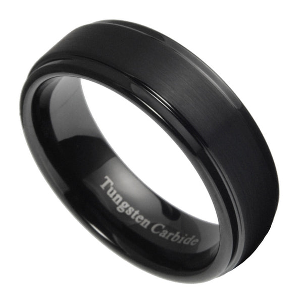 7mm Tungsten Carbide Mens Brushed Stepped Edges Black Wedding Band Ring 5 15
