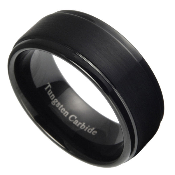 9mm Tungsten Carbide Mens Brushed Stepped Edges Black Wedding Band Ring 7-15