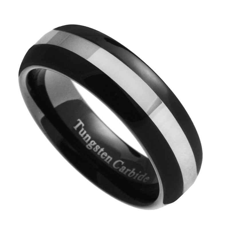 6mm Tungsten Carbide Men Women Black & Silver Dome Wedding Band Ring Size 5-8.5