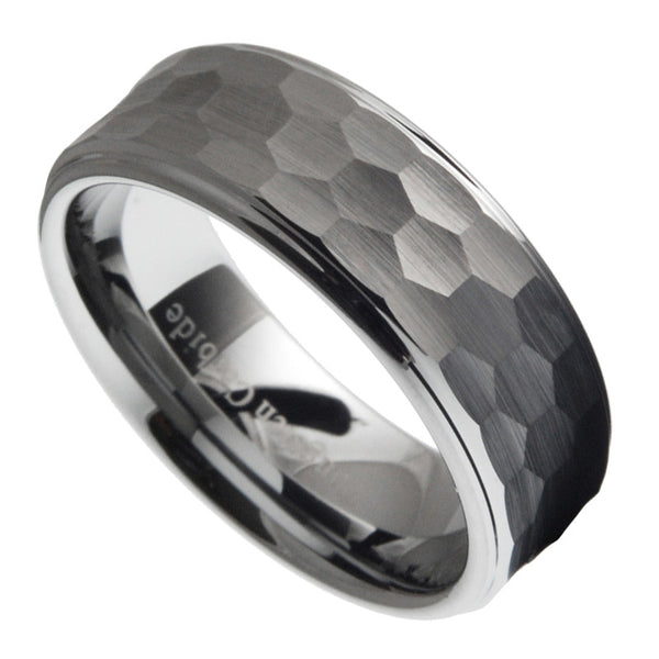 8mm Tungsten Carbide Men Hammered Stepped Edges Wedding Band Ring Size 7-12.5