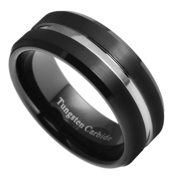 8mm Tungsten Carbide Men Women Black Silver Groove Wedding Band Ring Size 7-15