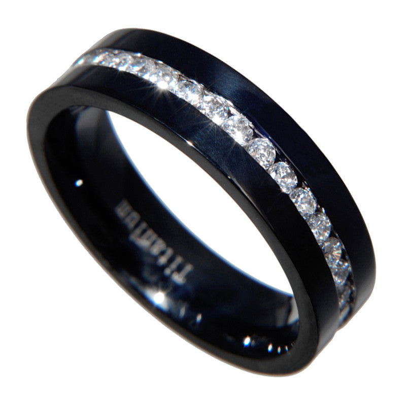 Titanium Black 2 Carat Channel setting CZ Eternity Wedding Band Ring Size 6-13