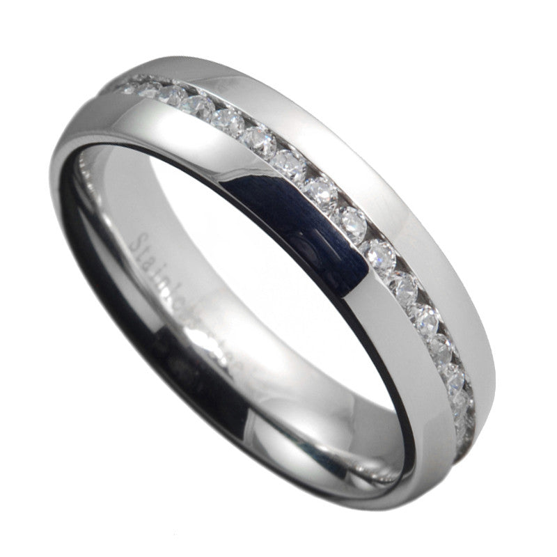 Stainless Steel Eternity Channel Setting Clear CZ Wedding Ring Size 6-13