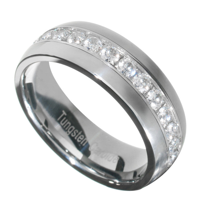 1.3 Carat Tungsten Carbide Round Cut CZ Men Women Wedding Band Ring Size  7 15