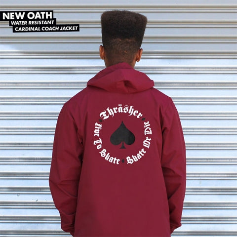 Thrasher New Oath Hooded Coaches Jacket Cardinal Red