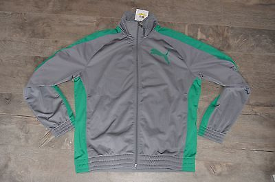 Puma Trickot Track Jacket 1 Steel Gray/Green Men's Track Jacket Size M